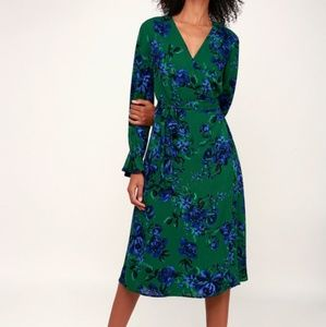 Brand new, gorgeous, wrap midi dress from Lulus